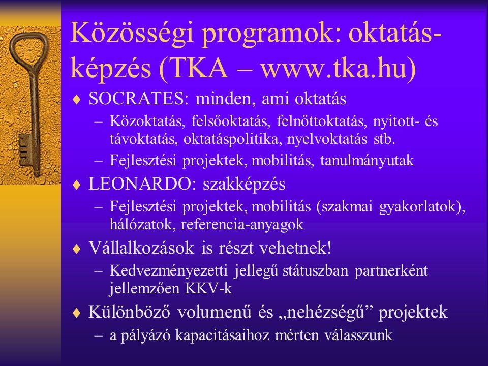 Közösségi programok: oktatás- képzés (TKA – www.tka.hu)  SOCRATES: minden, ami oktatás –Közoktatás, felsőoktatás, felnőttoktatás, nyitott- és távokta