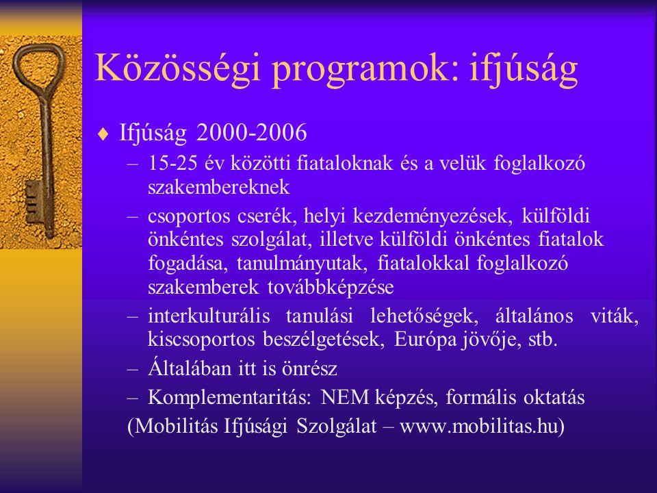 Közösségi programok: ifjúság  Ifjúság 2000-2006 –15-25 év közötti fiataloknak és a velük foglalkozó szakembereknek –csoportos cserék, helyi kezdemény