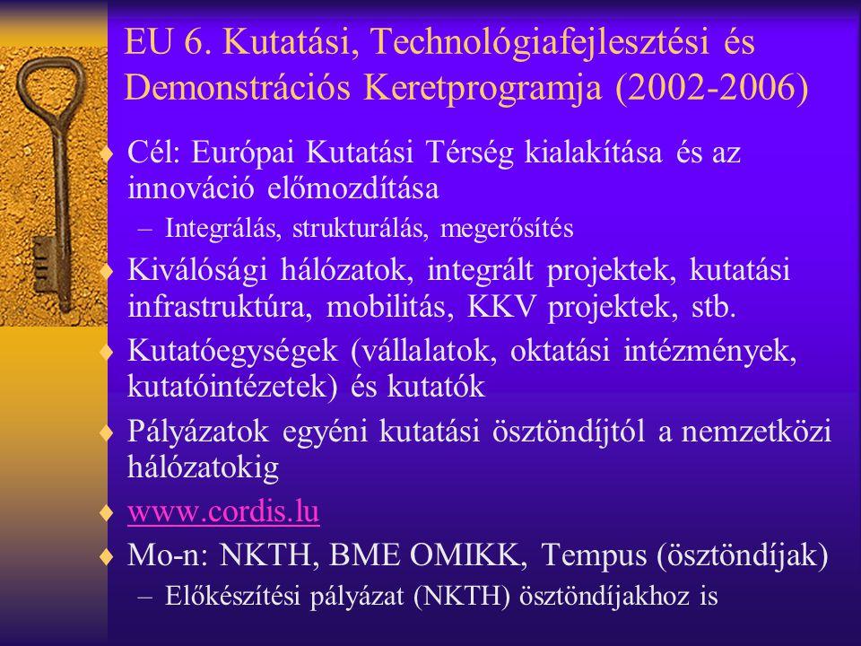 EU 6. Kutatási, Technológiafejlesztési és Demonstrációs Keretprogramja (2002-2006)  Cél: Európai Kutatási Térség kialakítása és az innováció előmozdí