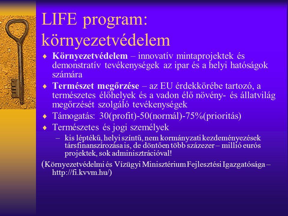 LIFE program: környezetvédelem  Környezetvédelem – innovatív mintaprojektek és demonstratív tevékenységek az ipar és a helyi hatóságok számára  Term