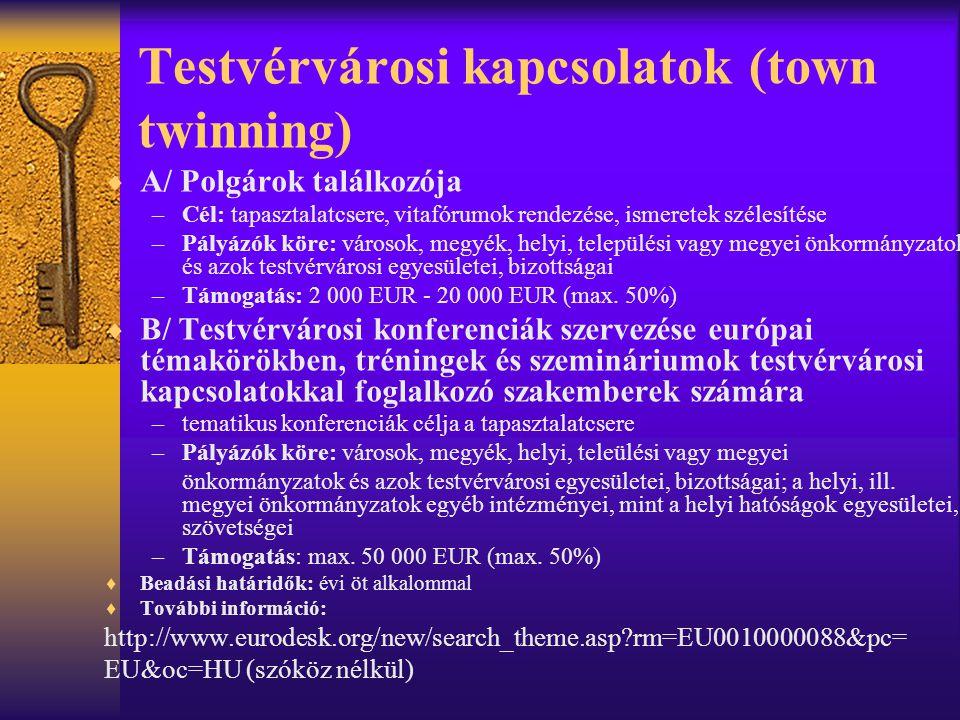 Testvérvárosi kapcsolatok (town twinning)  A/ Polgárok találkozója –Cél: tapasztalatcsere, vitafórumok rendezése, ismeretek szélesítése –Pályázók kör