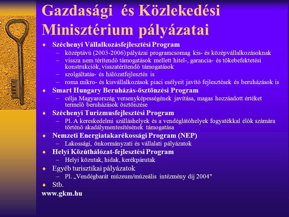 Gazdasági és Közlekedési Minisztérium pályázatai  Széchenyi Vállalkozásfejlesztési Program –középtávú (2003-2006) pályázai programcsomag kis- és közé