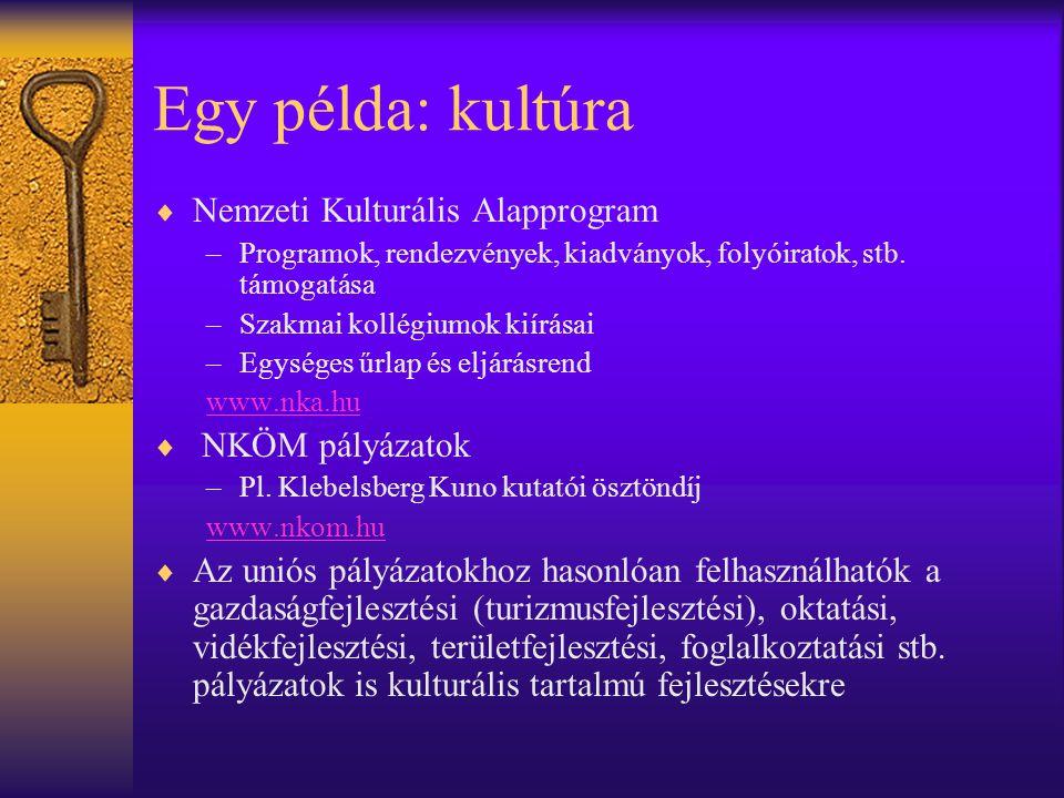Egy példa: kultúra  Nemzeti Kulturális Alapprogram –Programok, rendezvények, kiadványok, folyóiratok, stb. támogatása –Szakmai kollégiumok kiírásai –