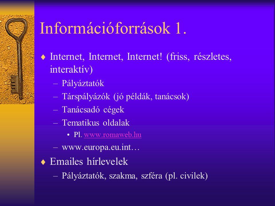 Információforrások 1.  Internet, Internet, Internet! (friss, részletes, interaktív) –Pályáztatók –Társpályázók (jó példák, tanácsok) –Tanácsadó cégek