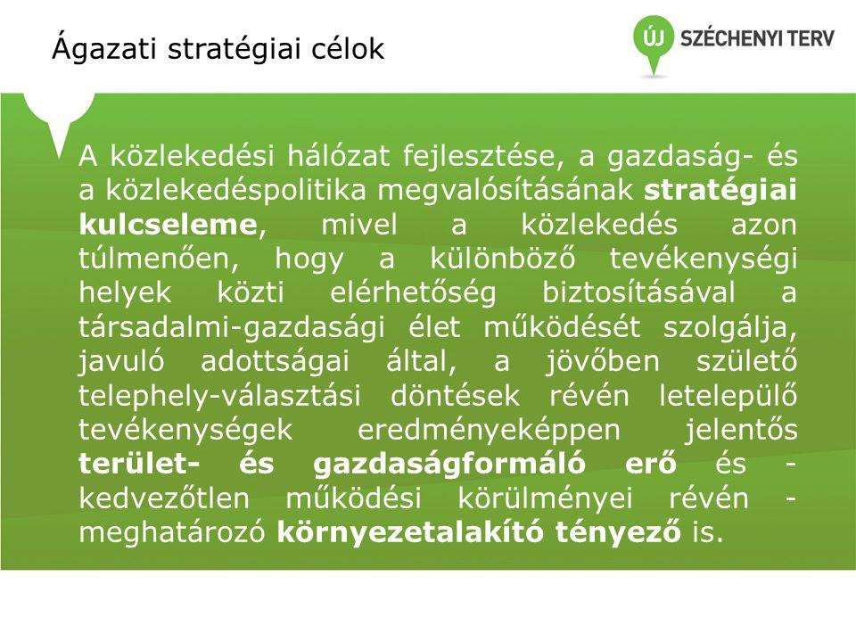 Ágazati stratégiai célok A közlekedési hálózat fejlesztése, a gazdaság- és a közlekedéspolitika megvalósításának stratégiai kulcseleme, mivel a közlek