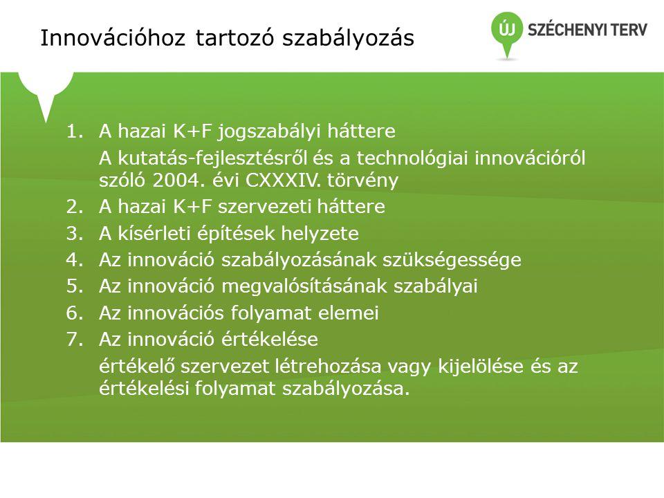 Innovációhoz tartozó szabályozás 1.A hazai K+F jogszabályi háttere A kutatás-fejlesztésről és a technológiai innovációról szóló 2004. évi CXXXIV. törv