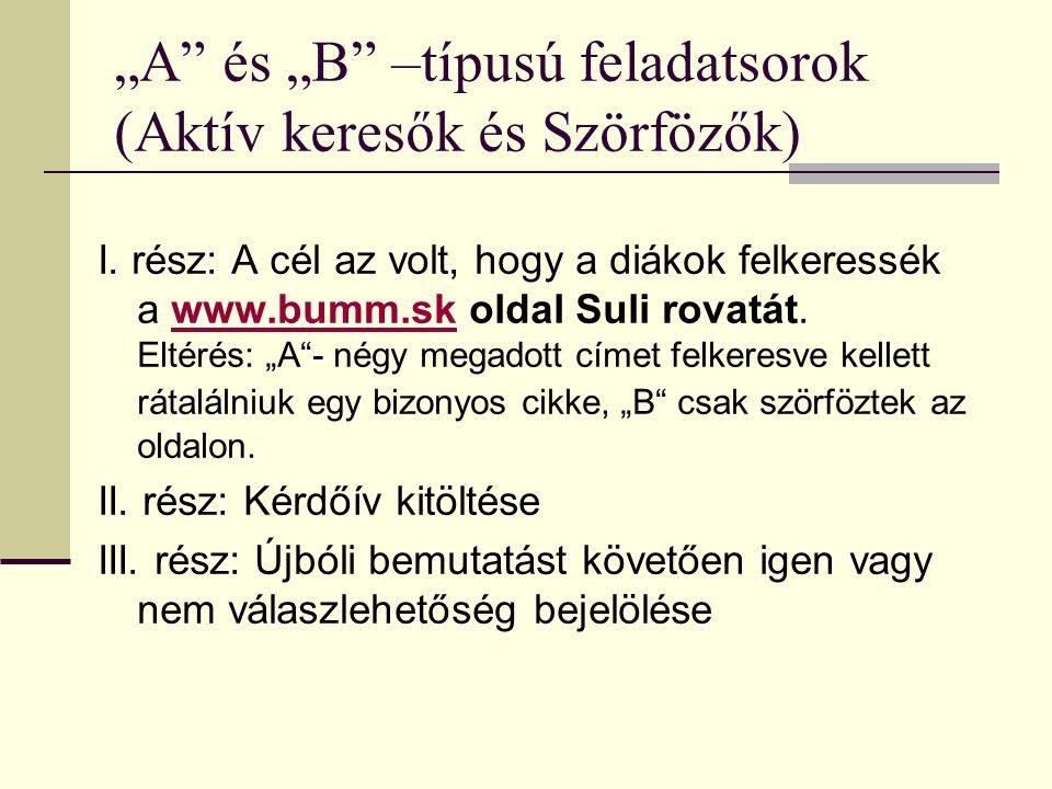 """""""A"""" és """"B"""" –típusú feladatsorok (Aktív keresők és Szörfözők) I. rész: A cél az volt, hogy a diákok felkeressék a www.bumm.sk oldal Suli rovatát. Eltér"""