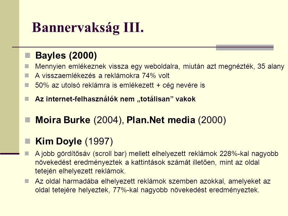 Bannervakság III.  Bayles (2000)  Mennyien emlékeznek vissza egy weboldalra, miután azt megnézték, 35 alany  A visszaemlékezés a reklámokra 74% vol