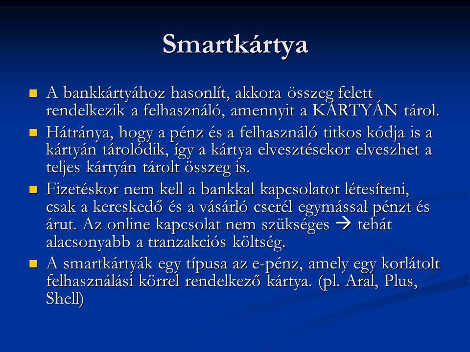 Smartkártya  A bankkártyához hasonlít, akkora összeg felett rendelkezik a felhasználó, amennyit a KÁRTYÁN tárol.  Hátránya, hogy a pénz és a felhasz