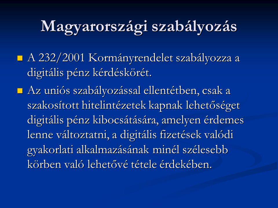 Magyarországi szabályozás  A 232/2001 Kormányrendelet szabályozza a digitális pénz kérdéskörét.  Az uniós szabályozással ellentétben, csak a szakosí