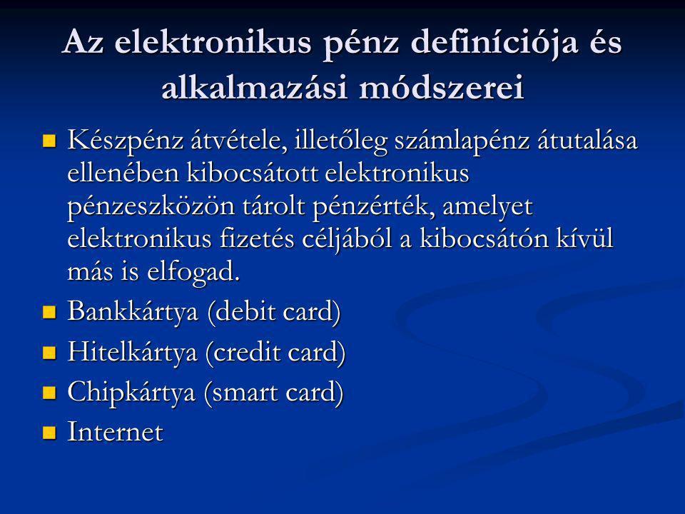 Az elektronikus pénz definíciója és alkalmazási módszerei  Készpénz átvétele, illetőleg számlapénz átutalása ellenében kibocsátott elektronikus pénze