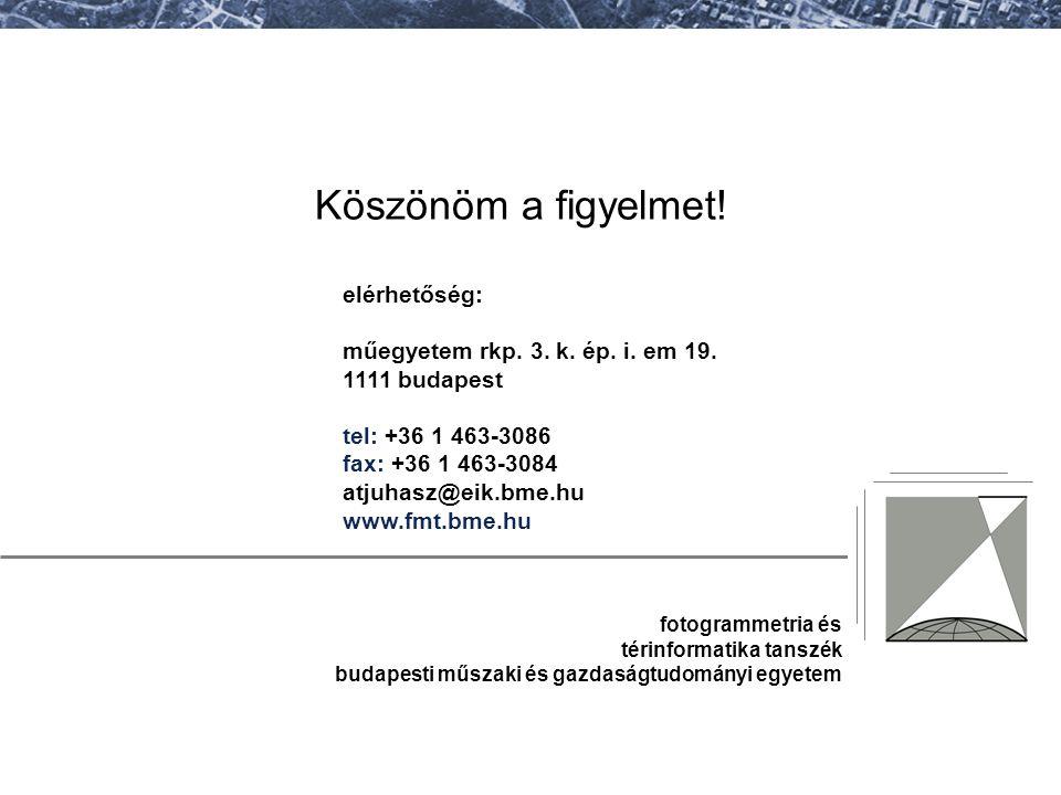 fotogrammetria és térinformatika tanszék budapesti műszaki és gazdaságtudományi egyetem elérhetőség: műegyetem rkp. 3. k. ép. i. em 19. 1111 budapest