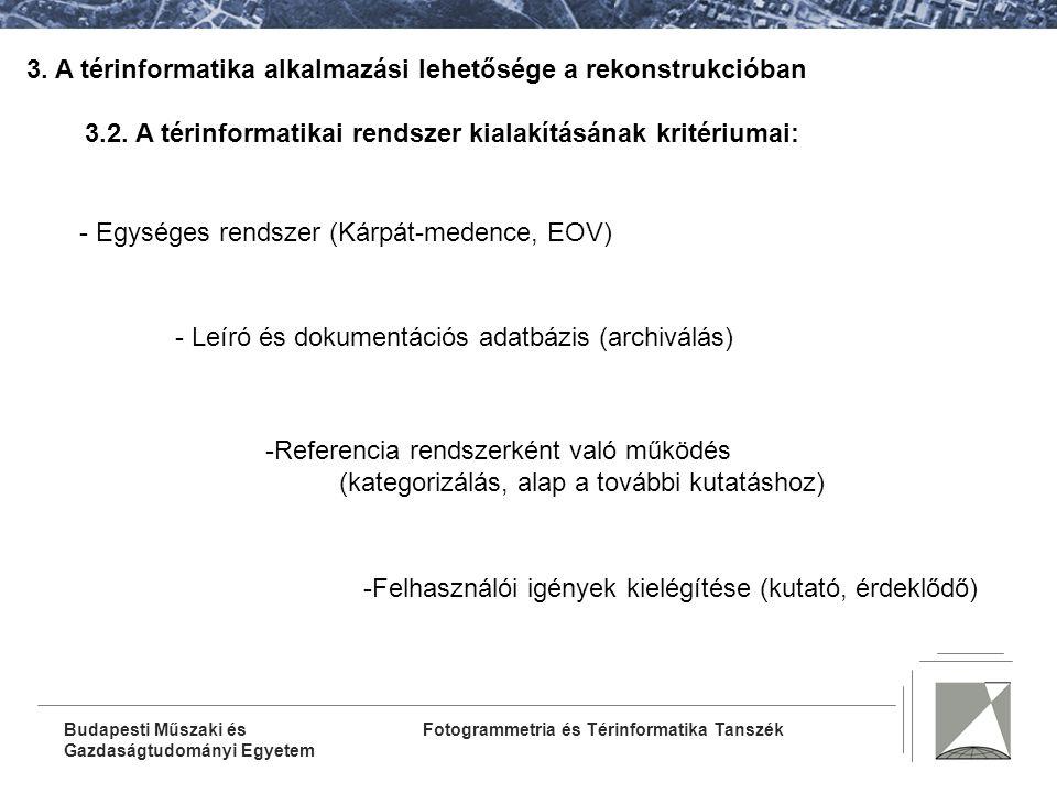 Fotogrammetria és Térinformatika TanszékBudapesti Műszaki és Gazdaságtudományi Egyetem 3.