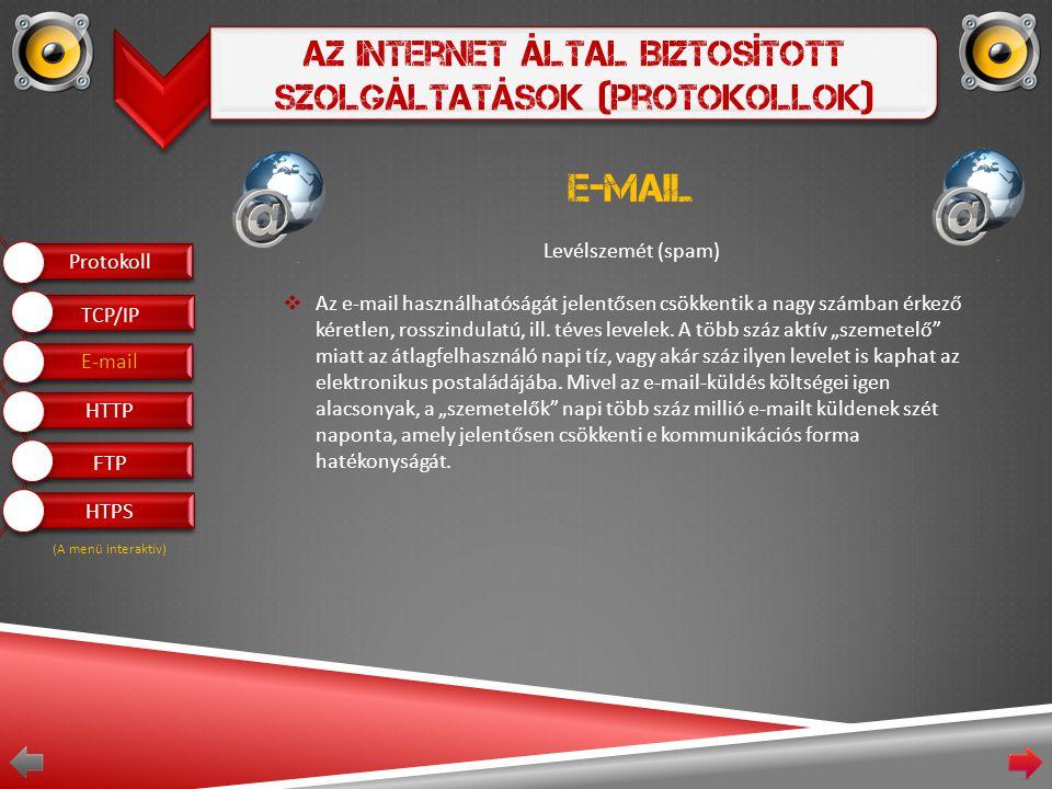 Az Internet Által Biztosított Szolgáltatások (Protokollok) E-mail Levélszemét (spam)  Az e-mail használhatóságát jelentősen csökkentik a nagy számban érkező kéretlen, rosszindulatú, ill.