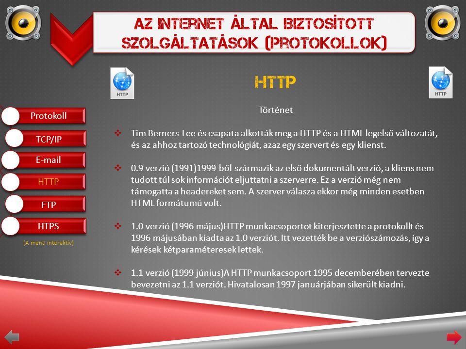 Az Internet Által Biztosított Szolgáltatások (Protokollok) HTTP Történet  Tim Berners-Lee és csapata alkották meg a HTTP és a HTML legelső változatát, és az ahhoz tartozó technológiát, azaz egy szervert és egy klienst.