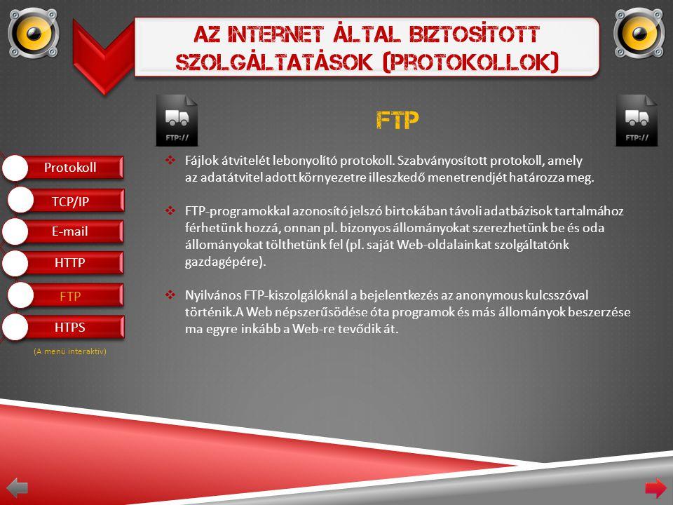 Az Internet Által Biztosított Szolgáltatások (Protokollok) FTP  Fájlok átvitelét lebonyolító protokoll.