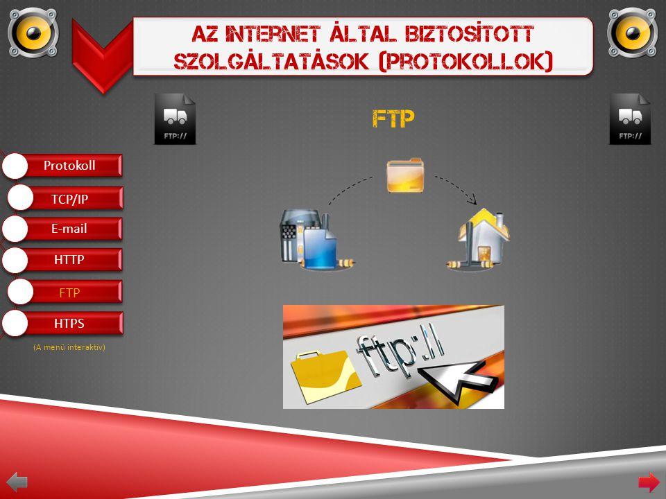 Az Internet Által Biztosított Szolgáltatások (Protokollok) FTP Protokoll E-mail HTTP FTP HTPS TCP/IP (A menü interaktív)