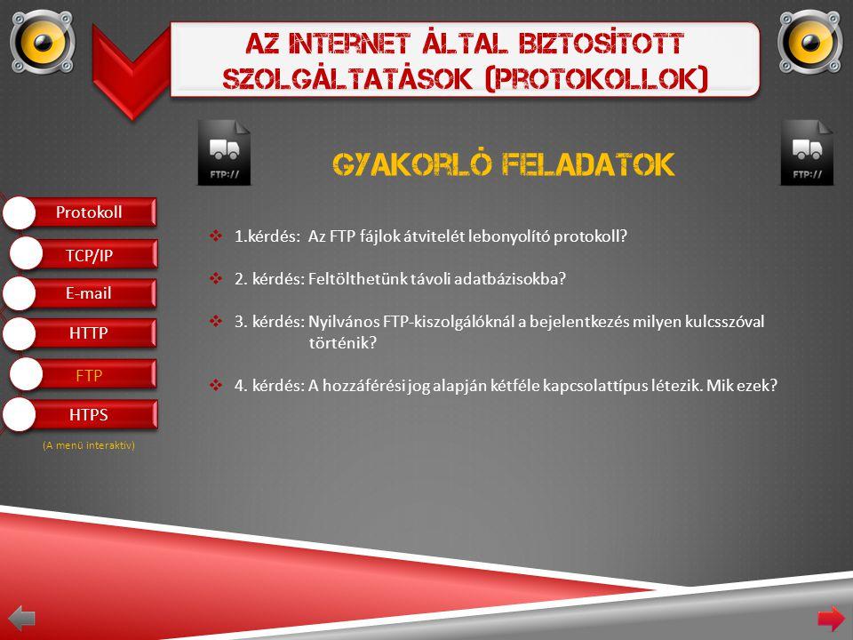 Az Internet Által Biztosított Szolgáltatások (Protokollok) Gyakorló feladatok  1.kérdés: Az FTP fájlok átvitelét lebonyolító protokoll.