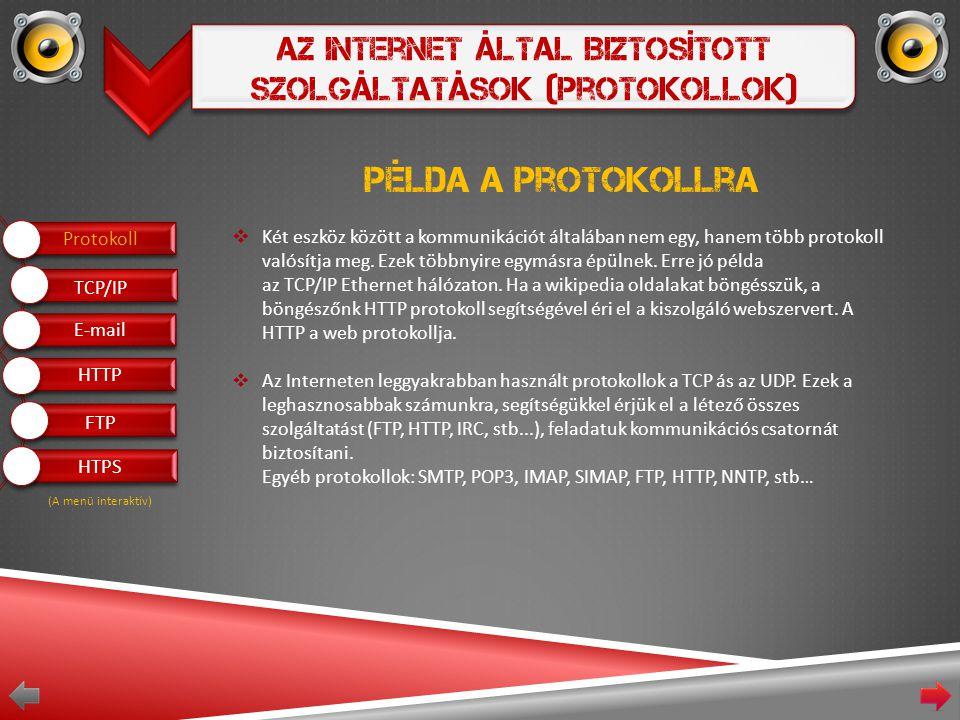 Az Internet Által Biztosított Szolgáltatások (Protokollok) Példa a protokollra  Két eszköz között a kommunikációt általában nem egy, hanem több protokoll valósítja meg.