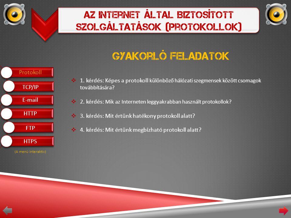 Az Internet Által Biztosított Szolgáltatások (Protokollok) Gyakorló feladatok  1.