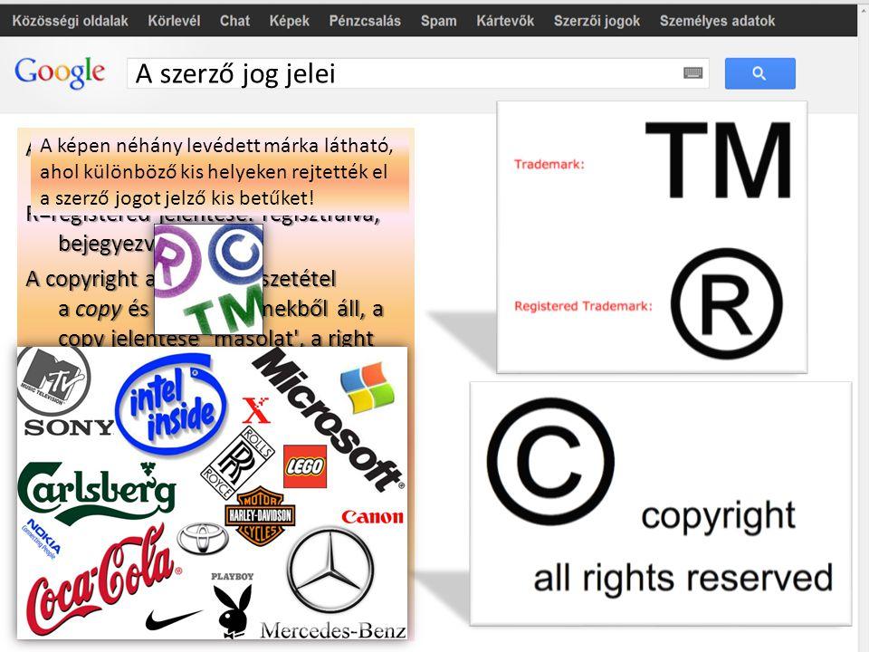 A szerző jog jelei A TM azaz Trademark - védett márkát jelent szó szerint. R=registered jelentése: regisztrálva, bejegyezve, levédve. R=registered jel