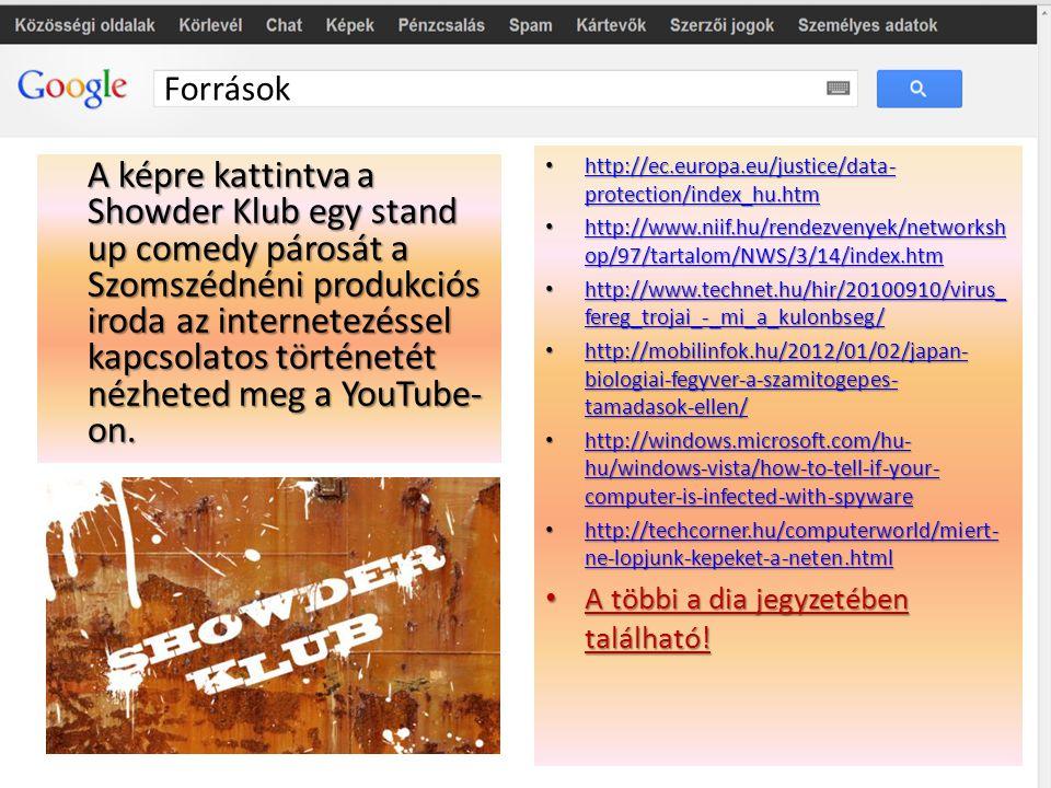 Források A képre kattintva a Showder Klub egy stand up comedy párosát a Szomszédnéni produkciós iroda az internetezéssel kapcsolatos történetét nézhet
