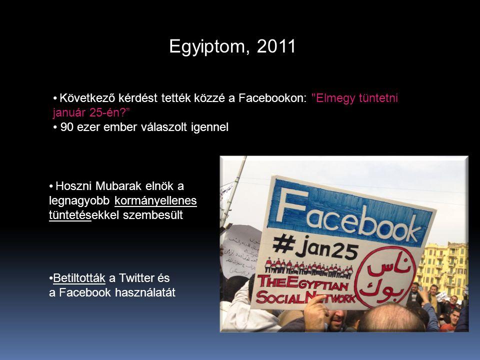 Egyiptom, 2011 •Betiltották a Twitter és a Facebook használatát • Következő kérdést tették közzé a Facebookon: Elmegy tüntetni január 25-én? • 90 ezer ember válaszolt igennel • Hoszni Mubarak elnök a legnagyobb kormányellenes tüntetésekkel szembesült