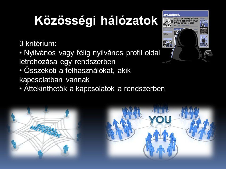 Közösségi hálózatok 3 kritérium: • Nyilvános vagy félig nyilvános profil oldal létrehozása egy rendszerben • Összeköti a felhasználókat, akik kapcsolatban vannak • Áttekinthetők a kapcsolatok a rendszerben
