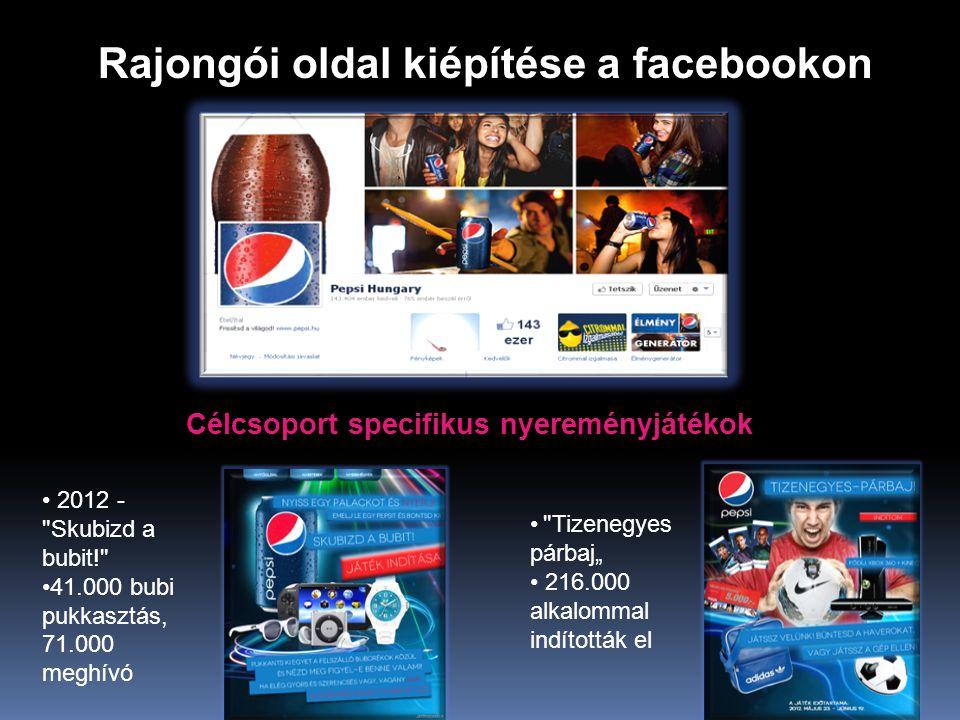 """Rajongói oldal kiépítése a facebookon • 2012 - Skubizd a bubit! •41.000 bubi pukkasztás, 71.000 meghívó • Tizenegyes párbaj"""" • 216.000 alkalommal indították el Célcsoport specifikus nyereményjátékok"""