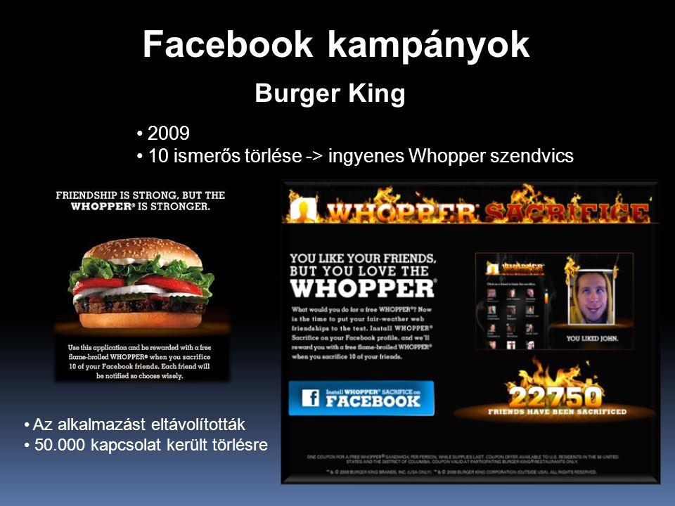 Facebook kampányok Burger King • 2009 • 10 ismerős törlése -> ingyenes Whopper szendvics • Az alkalmazást eltávolították • 50.000 kapcsolat került törlésre