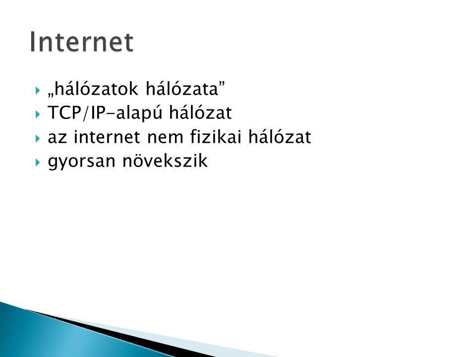 """ """"hálózatok hálózata""""  TCP/IP-alapú hálózat  az internet nem fizikai hálózat  gyorsan növekszik"""