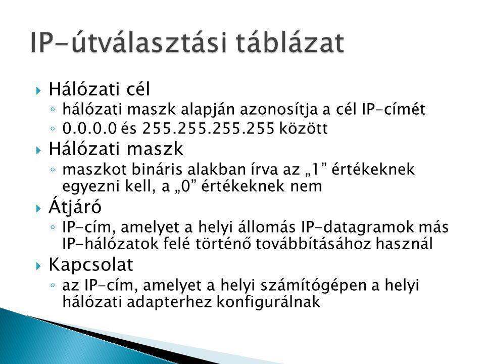  Hálózati cél ◦ hálózati maszk alapján azonosítja a cél IP-címét ◦ 0.0.0.0 és 255.255.255.255 között  Hálózati maszk ◦ maszkot bináris alakban írva