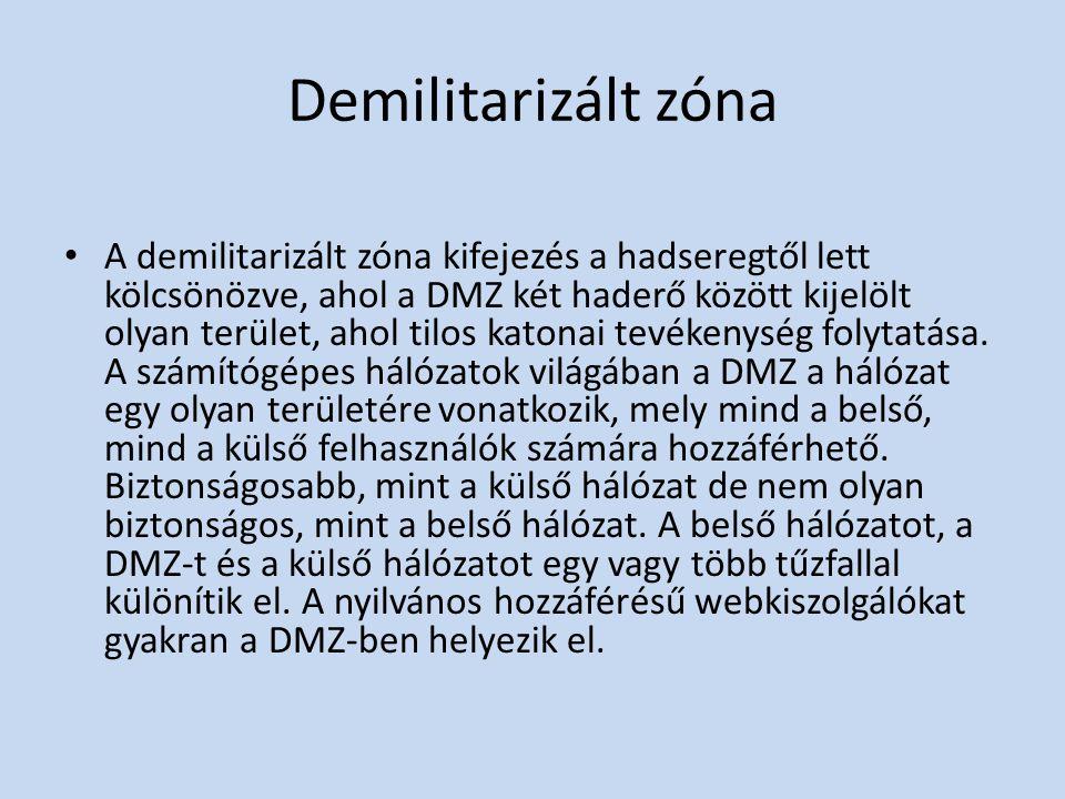 Demilitarizált zóna • A demilitarizált zóna kifejezés a hadseregtől lett kölcsönözve, ahol a DMZ két haderő között kijelölt olyan terület, ahol tilos