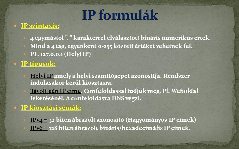  IP szintaxis:  4 egymástól . karakterrel elválasztott bináris numerikus érték.