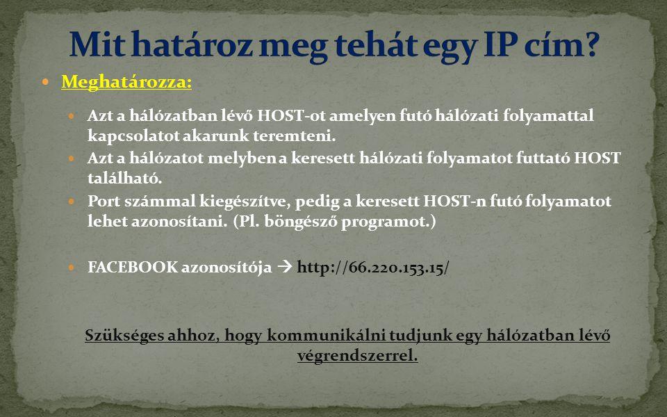  Meghatározza:  Azt a hálózatban lévő HOST-ot amelyen futó hálózati folyamattal kapcsolatot akarunk teremteni.