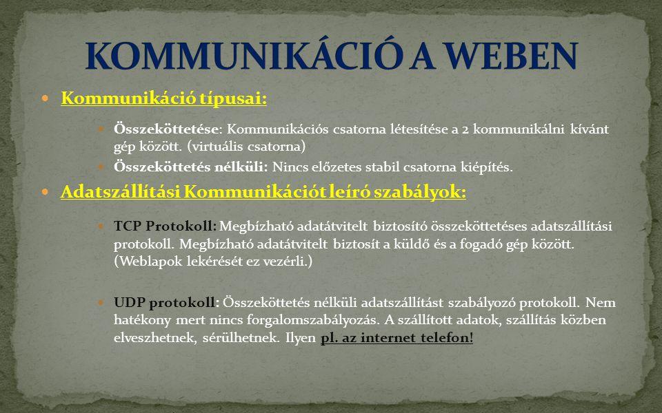  Kommunikáció típusai:  Összeköttetése: Kommunikációs csatorna létesítése a 2 kommunikálni kívánt gép között.