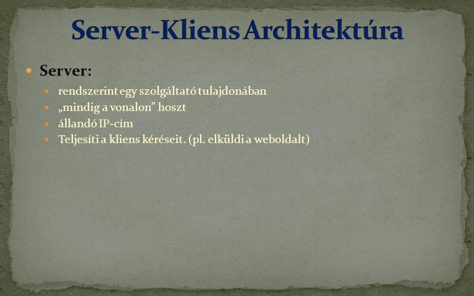 """ Server:  rendszerint egy szolgáltató tulajdonában  """"mindig a vonalon hoszt  állandó IP-cím  Teljesíti a kliens kéréseit."""