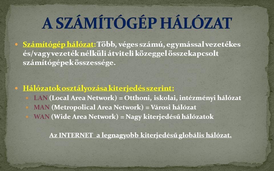  Számítógép hálózat: Több, véges számú, egymással vezetékes és/vagy vezeték nélküli átviteli közeggel összekapcsolt számítógépek összessége.