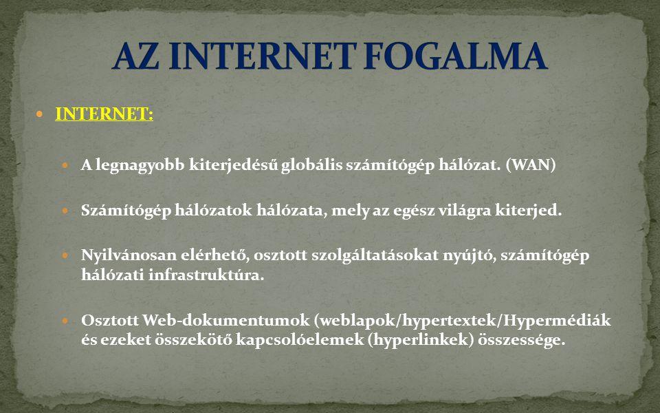  INTERNET:  A legnagyobb kiterjedésű globális számítógép hálózat.