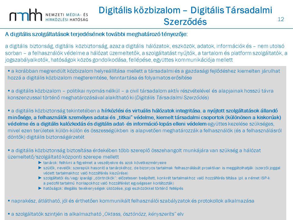 12 Digitális közbizalom – Digitális Társadalmi Szerződés  a korábban megrendült közbizalom helyreállítása mellett a társadalmi és a gazdasági fejlődé