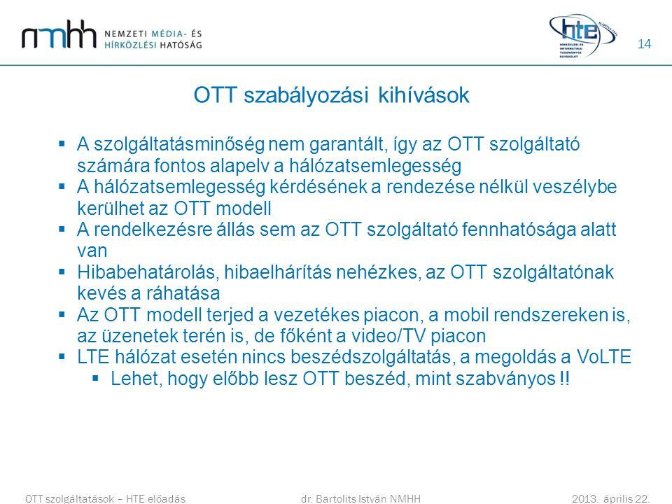 14 OTT szabályozási kihívások  A szolgáltatásminőség nem garantált, így az OTT szolgáltató számára fontos alapelv a hálózatsemlegesség  A hálózatsem
