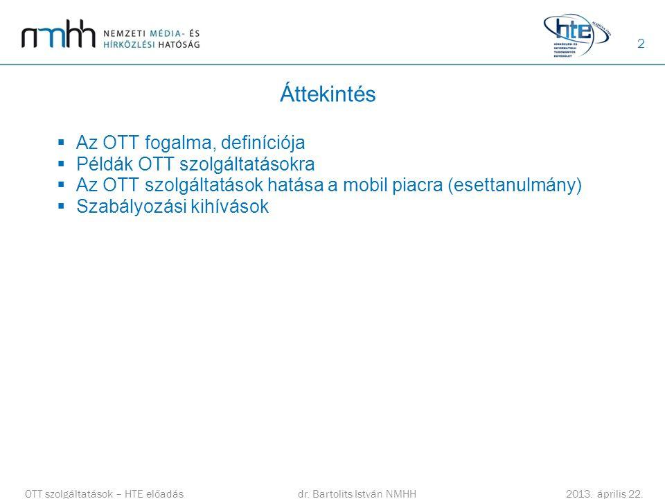 2 Áttekintés  Az OTT fogalma, definíciója  Példák OTT szolgáltatásokra  Az OTT szolgáltatások hatása a mobil piacra (esettanulmány)  Szabályozási