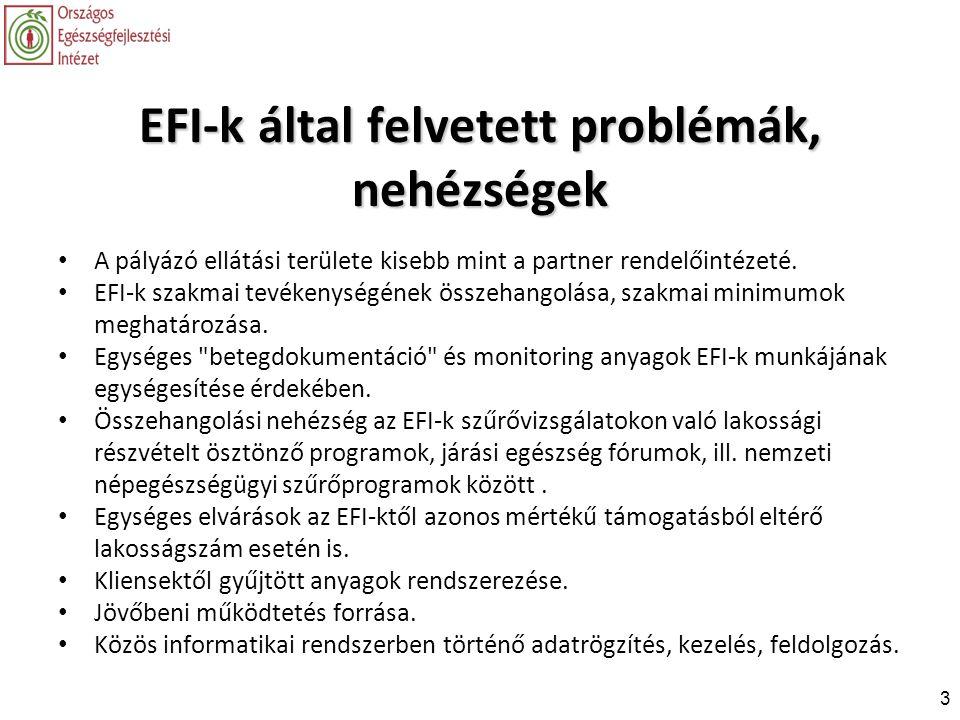 3 EFI-k által felvetett problémák, nehézségek • A pályázó ellátási területe kisebb mint a partner rendelőintézeté. • EFI-k szakmai tevékenységének öss
