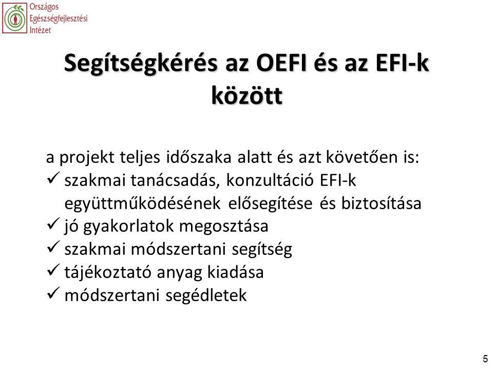 5 Segítségkérés az OEFI és az EFI-k között a projekt teljes időszaka alatt és azt követően is:  szakmai tanácsadás, konzultáció EFI-k együttműködésén