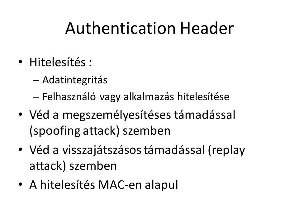 Authentication Header • Hitelesítés : – Adatintegritás – Felhasználó vagy alkalmazás hitelesítése • Véd a megszemélyesítéses támadással (spoofing attack) szemben • Véd a visszajátszásos támadással (replay attack) szemben • A hitelesítés MAC-en alapul
