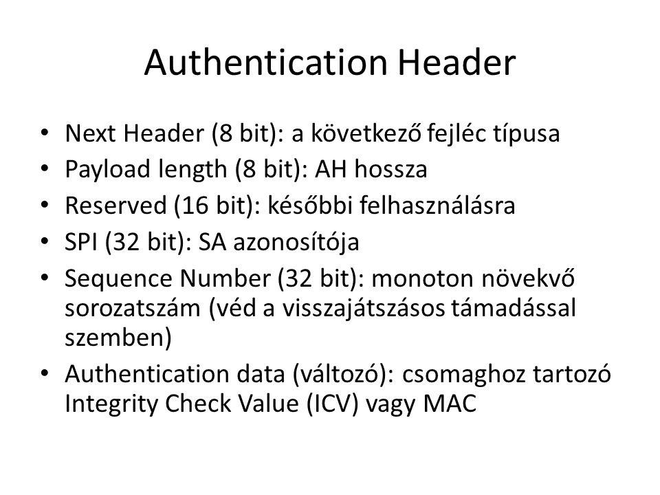 • Next Header (8 bit): a következő fejléc típusa • Payload length (8 bit): AH hossza • Reserved (16 bit): későbbi felhasználásra • SPI (32 bit): SA azonosítója • Sequence Number (32 bit): monoton növekvő sorozatszám (véd a visszajátszásos támadással szemben) • Authentication data (változó): csomaghoz tartozó Integrity Check Value (ICV) vagy MAC