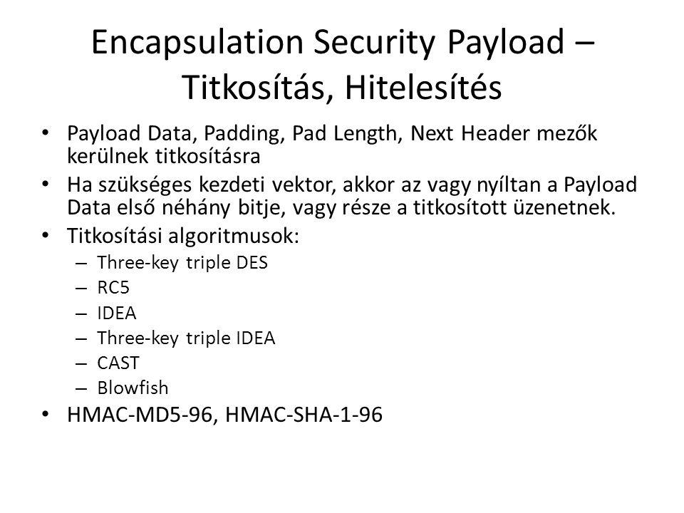 Encapsulation Security Payload – Titkosítás, Hitelesítés • Payload Data, Padding, Pad Length, Next Header mezők kerülnek titkosításra • Ha szükséges kezdeti vektor, akkor az vagy nyíltan a Payload Data első néhány bitje, vagy része a titkosított üzenetnek.