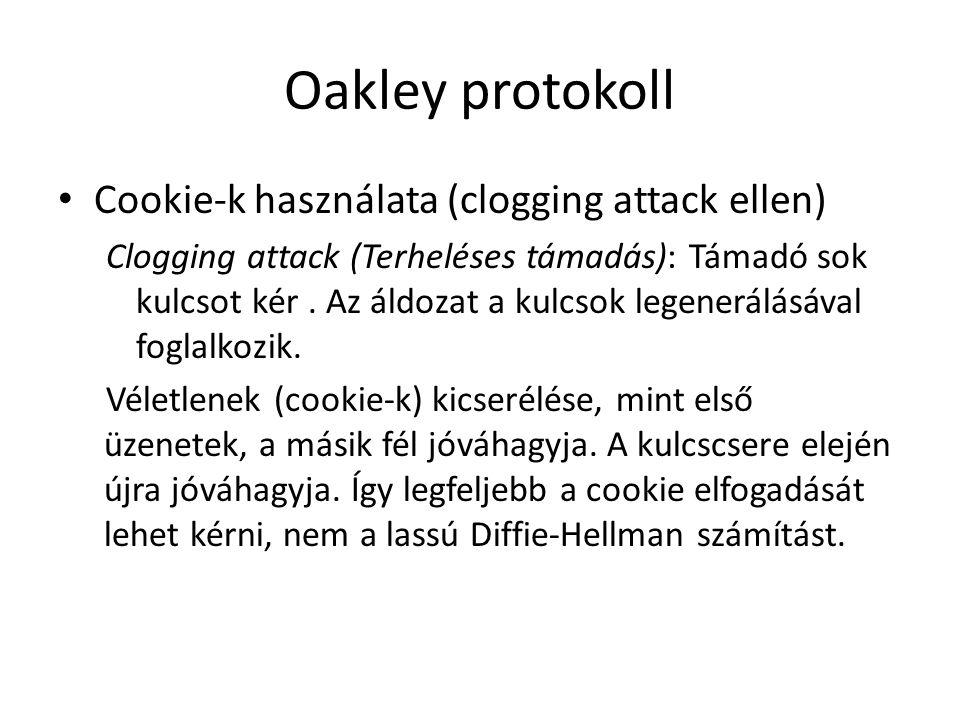 Oakley protokoll • Cookie-k használata (clogging attack ellen) Clogging attack (Terheléses támadás): Támadó sok kulcsot kér. Az áldozat a kulcsok lege