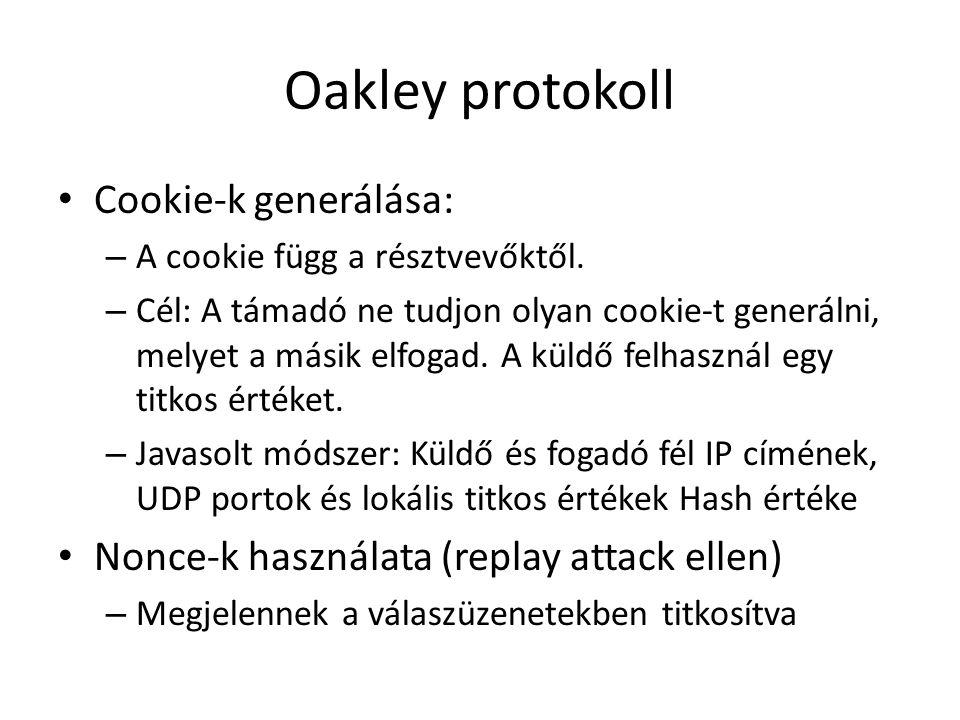 Oakley protokoll • Cookie-k generálása: – A cookie függ a résztvevőktől. – Cél: A támadó ne tudjon olyan cookie-t generálni, melyet a másik elfogad. A