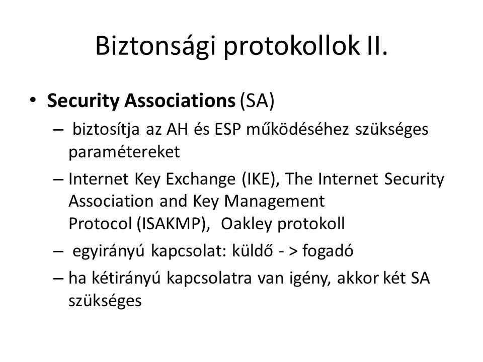 Biztonsági protokollok II. • Security Associations (SA) – biztosítja az AH és ESP működéséhez szükséges paramétereket – Internet Key Exchange (IKE), T